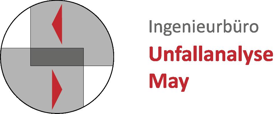 Logo vom Ingenieurbüro Unfallanalyse May und Schriftzug, Logo bestehend aus einem Kreis und zwei stilisierte ineinander fahrende Fahrzeuge mit Richtungspfeilen