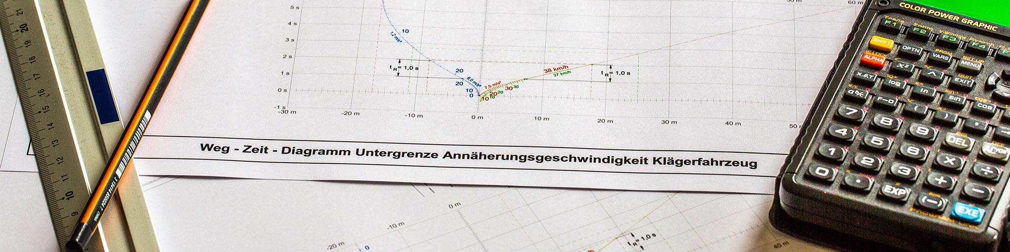Ausdruck eines Weg-Zeit-Diagramms, auf dem ein Lineal, Bleistift und ein Taschenrechner liegen